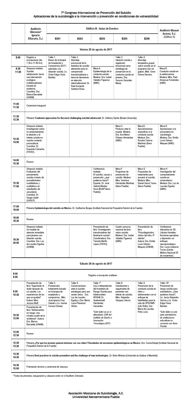 Horarios y espacios congreso AMS 2017 web